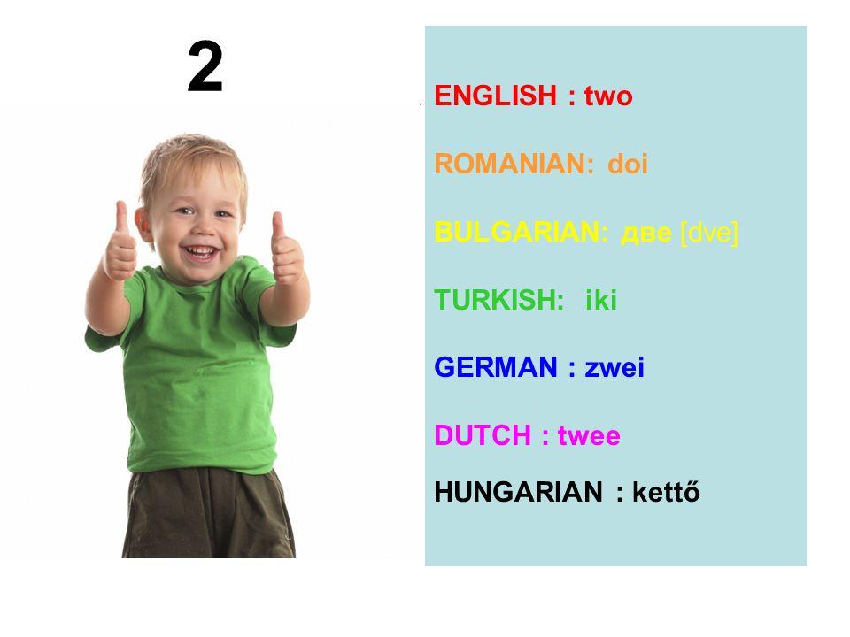 2 ENGLISH : two ROMANIAN: doi BULGARIAN: две [dve] TURKISH: iki GERMAN : zwei DUTCH : twee HUNGARIAN : kettő.